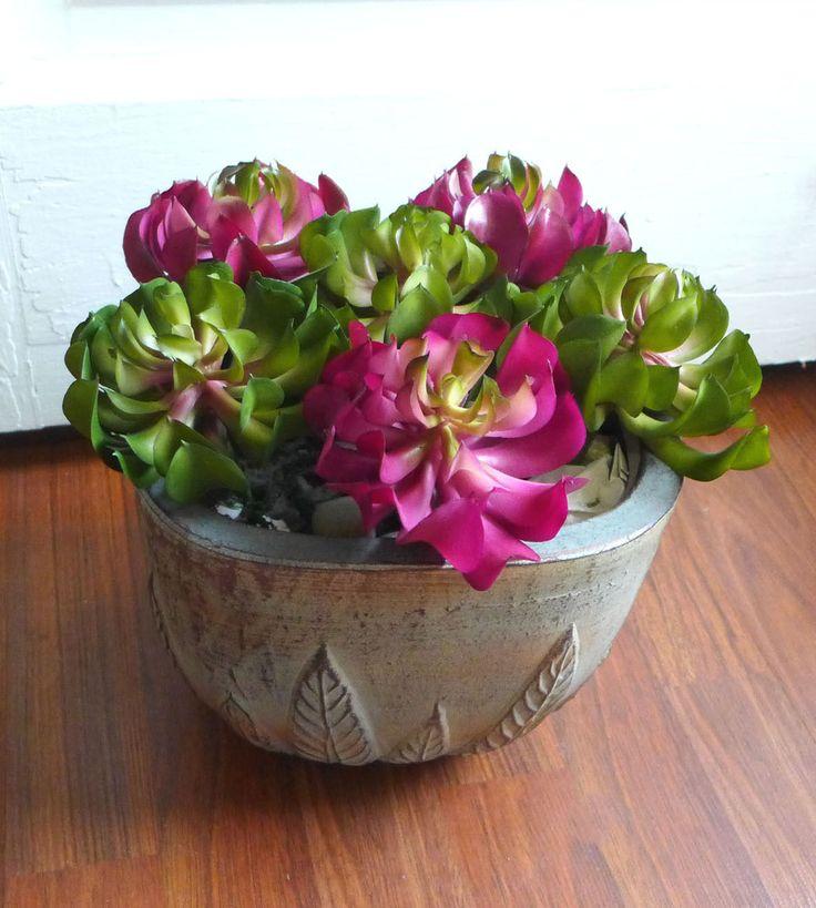 6 Sleep Lotus Succulent Mini Plants Artificial Plastic Grass (Two Colors)