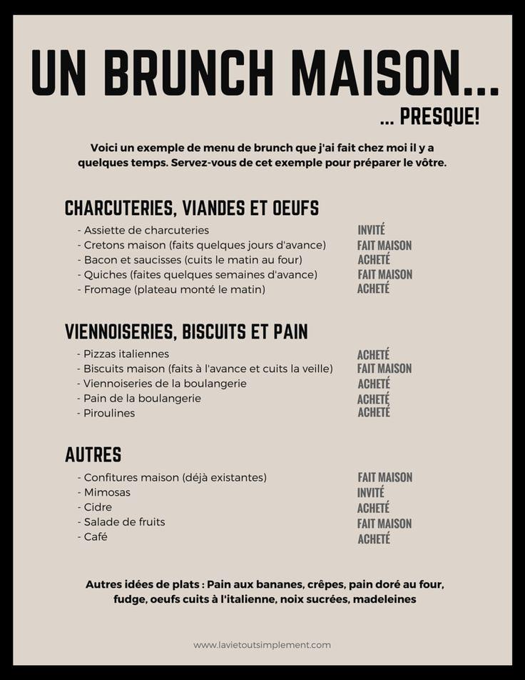 7 trucs pour recevoir pour le brunch. Exemple de menu pour le brunch. | lavietoutsimplement.com