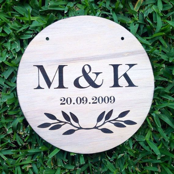 The perfect ENGRAVED INITIALS custom timber plaque from Katrina Louise Designs for Engagements, Weddings, gifts and decorations.