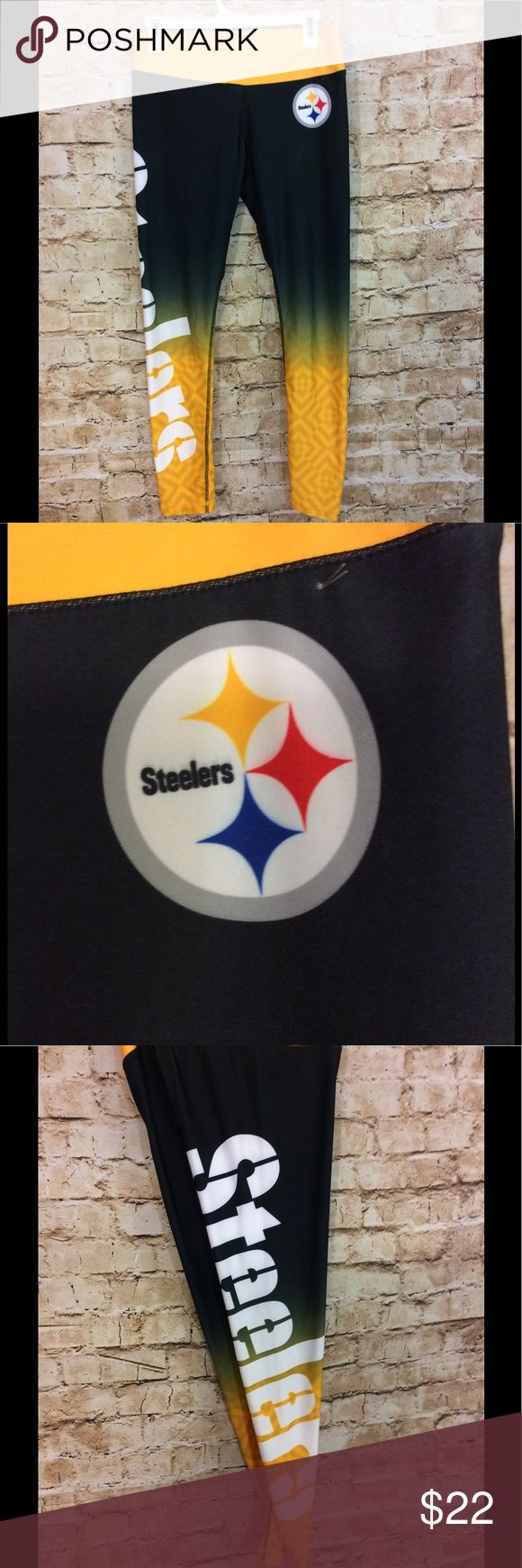 NFL team apparel Steelers jogger pants size medium Very gently used NFL team apparel size medium Steelers jogger pants  If you're a Steelers fan women are the pants for you Inseam is 28 inches Waist is 15 inches stretches of the 21 inches They don't look like they've ever been worn NFL Team apparel Pants Track Pants & Joggers