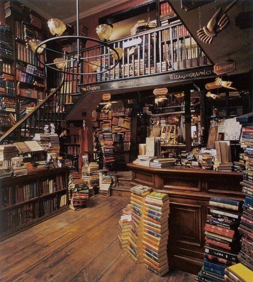 Flourish and Blotts in Diagon Alley - the bookshop of fantasy and wizards