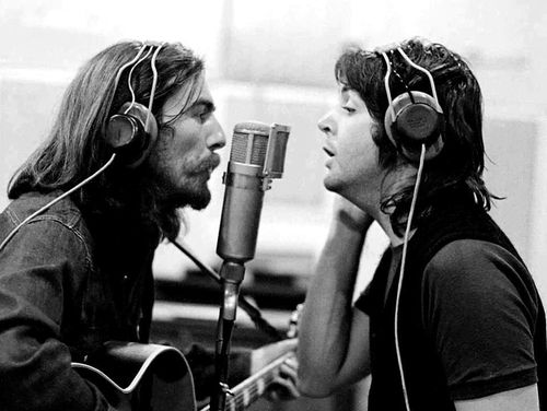 1969 - George Harrison and Paul McCartney, sessions for Abbey Road album.