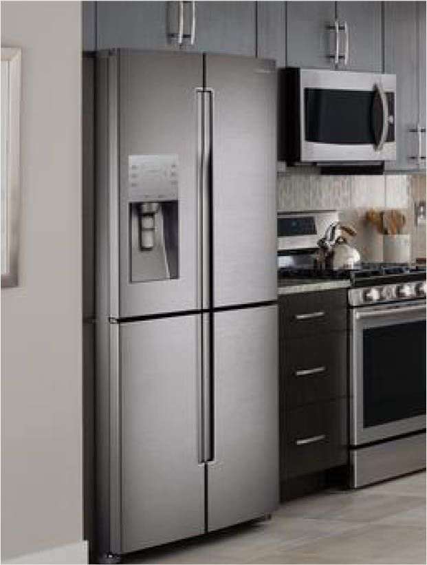 Samsung 22 5 Cu Ft 4 Doorflex French Door Refrigerator In Stainless Steel Counter Depth Rf23j9011sr The Home Depot Small Bathroom Remodel Condo Decorating Refrigerator