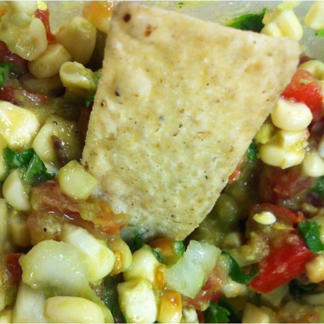 Corn salsa! Roast corn and cut the kernels off the cob. Add onions ...