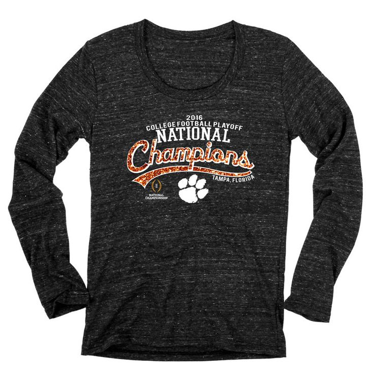 Clemson Tigers Blue 84 Women's College Football Playoff 2016 National Champions Tri-Blend Long Sleeve T-Shirt - Heathered Black