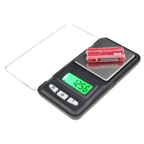 Black 100GX0.01G Pocket Digital Pocket Scale 2x AAA Batteries by NEEWER. $6.99. Maximum Precision scale :100g.. Generic 100GX0.01G Pocket Digital Scale. Minimum Precision scale :0.01g.. Color: Black. Backlight Green backlight.. Description:  * Small, lightweight,and portable.  * Auto calibration * Tare full capacity * 30 seconds off * Operation temperature: 50-86 degrees Fahrenheit * Powered by 2 x AAA batteries * Weight: 96g   Package contents:   * 1 x 100GX0.0...