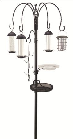 The ultimate feeding station, with something for all your garden birds! This heavy duty 25mm diameter pole with four decorative hooks and finial.