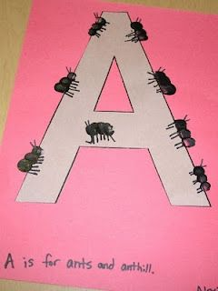 "A is for ants - LETTER A - Use fingerprints to create ants over letter 'a'. Can sing ""The ants go marching"" to connect w/ music & numbers, too."