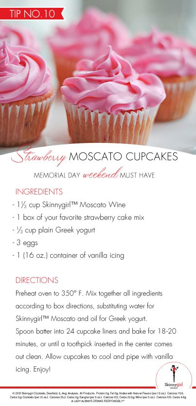End the weekend on a sweet note with these lightened-up Strawberry Moscato Cupcakes and other sweets from our Skinnygirl® Cocktails Guide!
