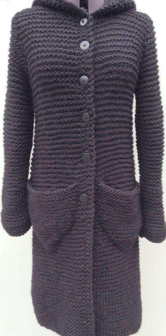 Long trendy cardigan in ecocertificed Wool. Danish Hand Knit from www.frustrik.dk for sale at etsy-com