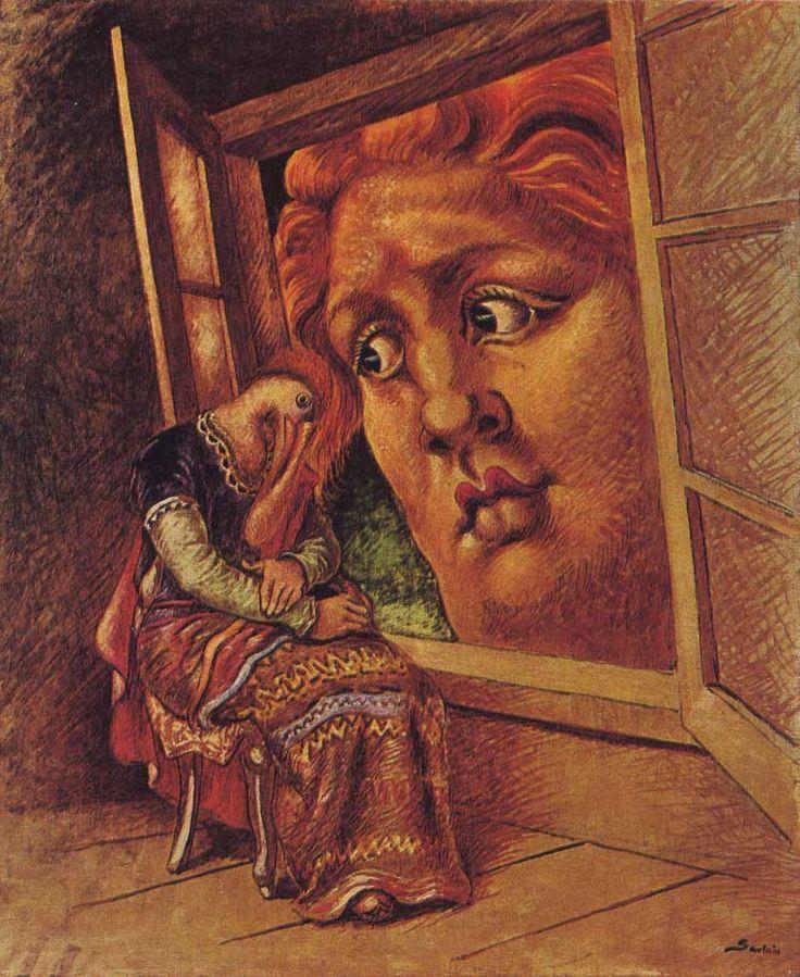 La Anunciacion, 1932 // artist: Alberto Savinio (Andrea De Quirico). http://bibliotecadelpsicoanalista.blogspot.com.es/2012/10/alberto-savinio-acerca-de-los-suenos.html