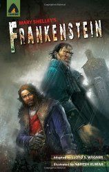 """BOOK REVIEW Frankenstein by Mary Shelley; adapted by Lloyd S. Wagner. """"A graphic novel is a fantastic way to read this story. The narrative is exactly as I remember it (it is the original text), but having the images kept me more interested in reading and help with a visual context to the story."""" Click to read our full #bookreview at the Reading Tub"""