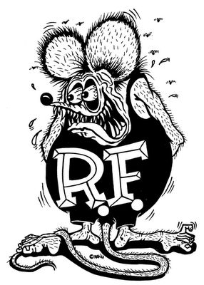 Rat Fink, by Big Daddy - Ed Roth. I don't think there was a boy in the 1960's who didn't have at least one rat fink shirt, and sticker in his school locker. This image was everywhere. Roth must have had made millions on the royalty rights.