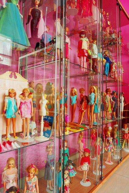 Vintage Barbie dolls on Ikea shelves