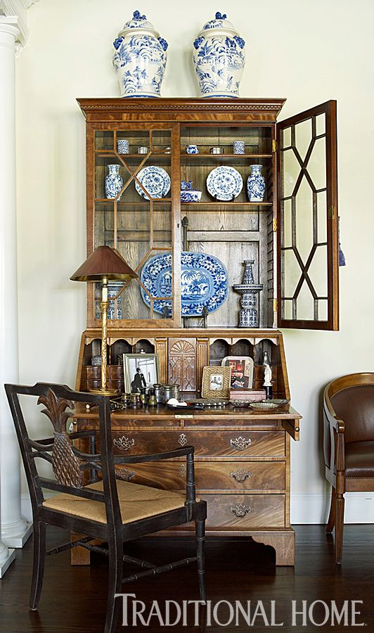 Still Singing The Blues. Antique Secretary DesksChinoiserie ChicTraditional  HomesTraditional DecoratingWhite ...