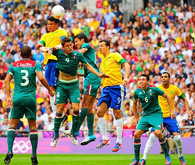Mexico won the Olympic gold medal in men's soccer for the first time, upsetting Brazil 2-1. It is the biggest win in the country's rich history, even more important than its second-round World Cup victory over Bulgaria on home soil in 1986. #london2012
