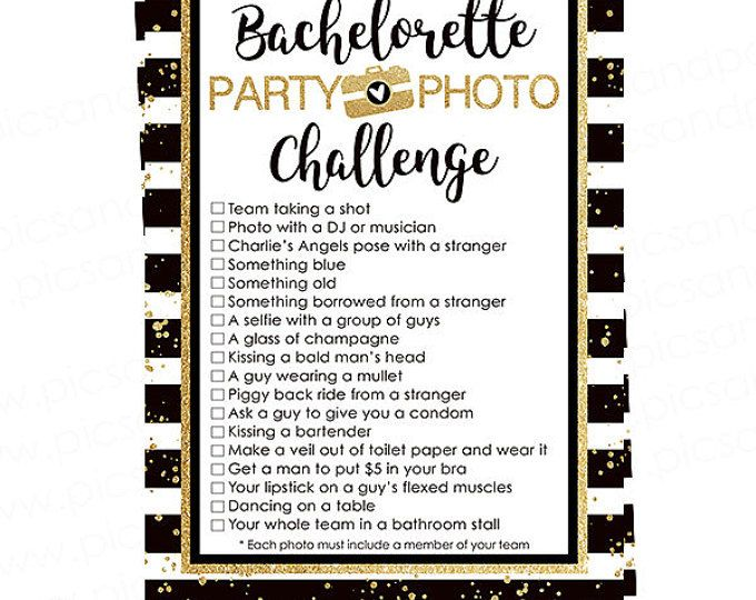 Bachelorette Party Photo Scavenger Hunt Game In Black And