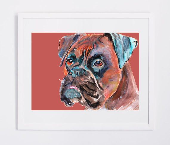 Boxer Dog painting art print brindle boxer dog illustration Orange brown aqua marine dog art print boxer gift idea by… #dogs #etsy #art
