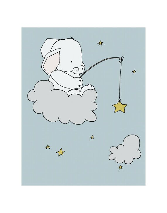 Elephant Star Fishing Elephant Nursery Art by SweetMelodyDesigns, $20.00