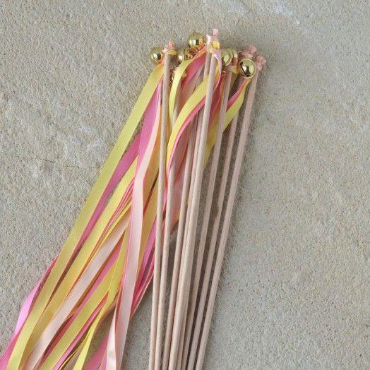 10er Set Wedding Wands Pink/Gelb