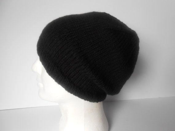 Men's knitted hat Black hat Men's slouchy beanie by AluraCrafts