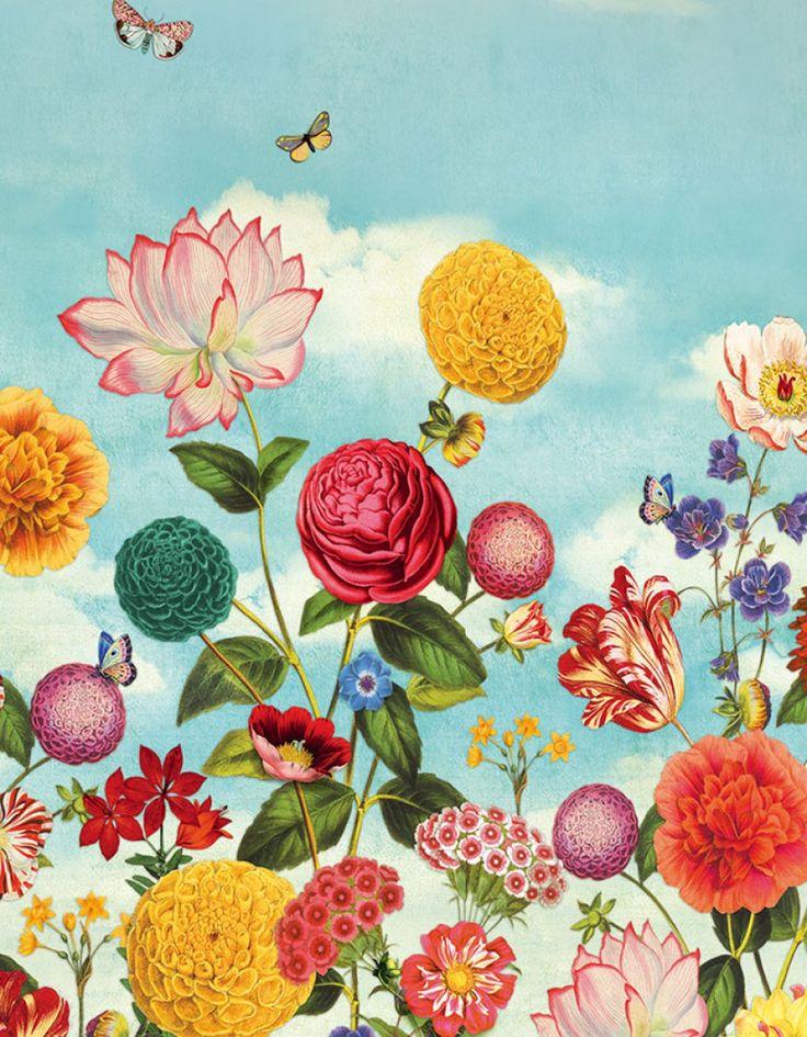 Dido | Papel de parede floral | Padrões de papel de parede | Papel de parede dos anos 70