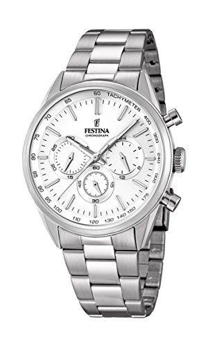 Festina Reloj de hombre de cuarzo con cronógrafo, esfera blanca y plata pulsera de acero inoxidable F16820/1 #relojes #festina