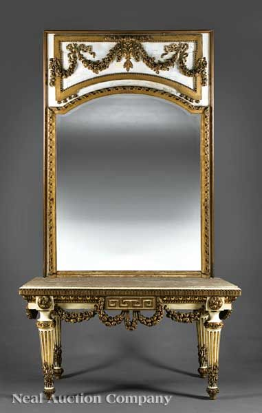 An Antique Italian Neoclassical Carved, Crème Peinte and Parcel Gilt Console Table and Mirror