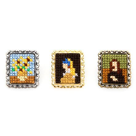 Cross stitch brooch based on pixel art. Original Japanese jewellery representing Masterpieces of painting. By Makoto Oozu
