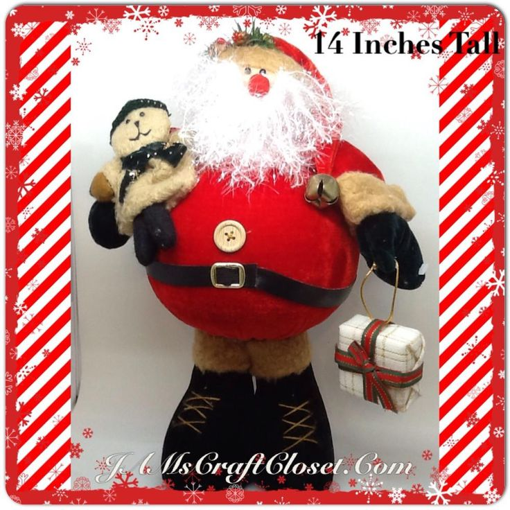 Santa Vintage Standing Red and Tan With Fat Belly, Sparkly Beard, Teady Bear and Package 14 Inches Tall
