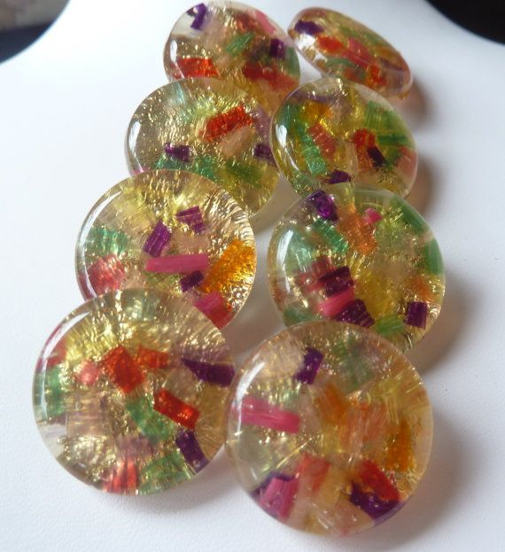 Colorful Confetti Foiled Lucite Buttons Set by PattycatsTreasures, $24.00