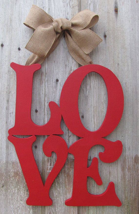 LOVE Valentine's Day Door Decor / Wooden Letter by VintageShore, $60.00