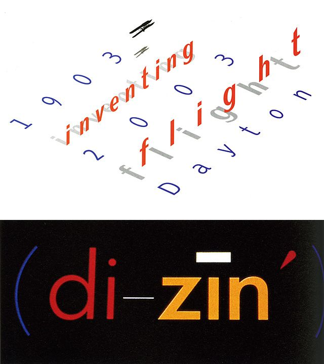 APRIL GREIMAN  (top) Logo for Inventing Flight, a centennial celebration that will coincide with the Ohio Bicentennial; (bottom) Di-zin logotype, 1984