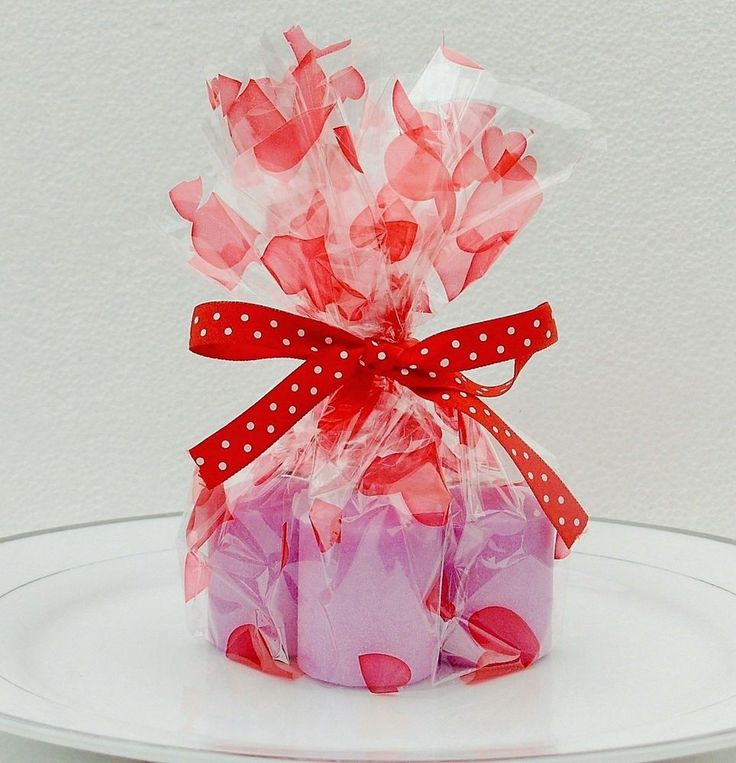 Mini Candle Gift Set Lavender Red Berry Scent Love Heart wrap + Polka Dot ribbon