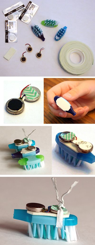 """Building Bristlebots: Basic Toothbrush Robotics"": With a bag of toothbrushes and some basic electronics supplies, you can give a group of kids a fun introductory #robotics experience! Once you have a crew of working bots, get creative building mazes and tracks!"