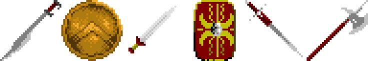 guns, shield, sword, medieval, spartan, roman, wallace, pixel art