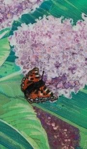 Detail from an art quilt made using silk batik and quilting. Colourful machine and hand embroidery. Machine embroidered 3D butterflies and flowers.