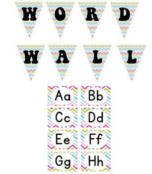 Chevron Word Wall Labels & Pennant Banner!