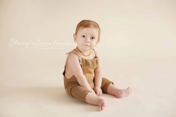 Upcycled sitter romper in camel colour with by JazzCraftBoutique