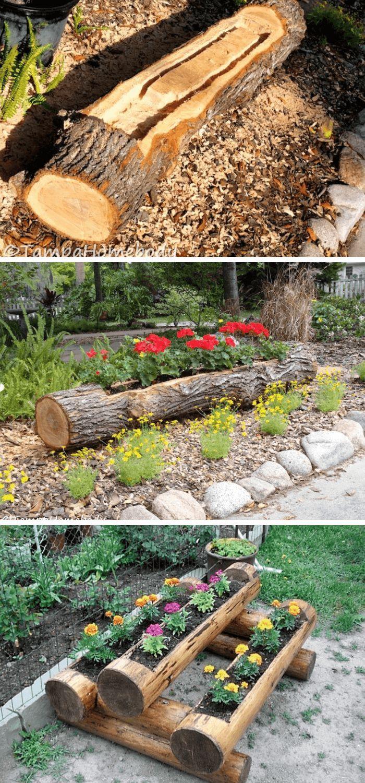 Tree Log Planter Wood Log Decoration Ideas For Your Garden Gardendeko Baumstamm Garten Garten Landschaftsbau Gartendekor