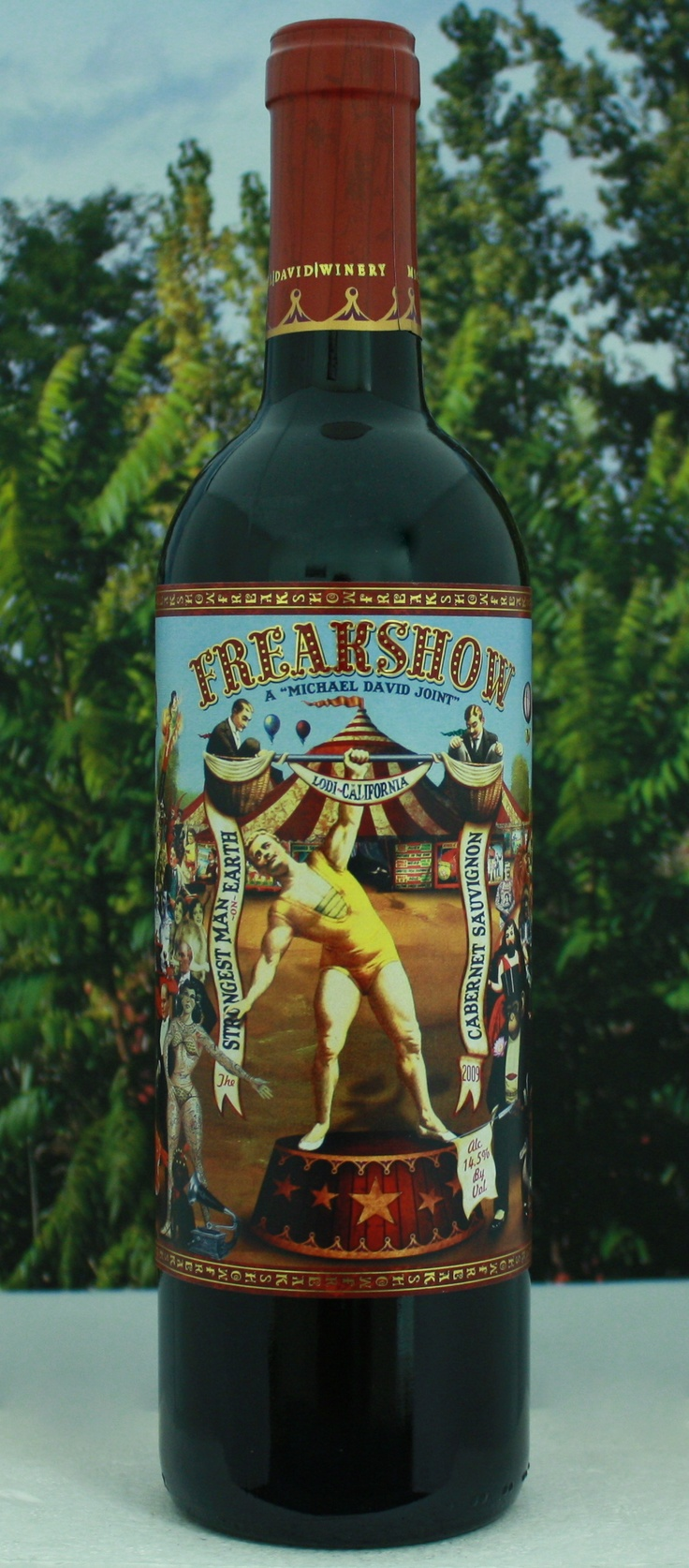 Michael David Winery's Freak Show Cabernet Sauvignon - The fruit for this brute of a Cab comes from the original 'super freak' Michael Phillips vineyard located only a medicine balls toss from the winery. Pound for pound our Cab over delivers, with a bouquet of dark cherry, blackberry, and roasted spices. Full bodied and mouth filling with gobs of dark berry fruit, charred oak, vanilla and cassis with dusty tannins and a lasting finish. - Winery $18.23