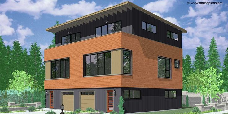 House front color elevation view for D-595 Modern duplex house plan three story with upper view deck