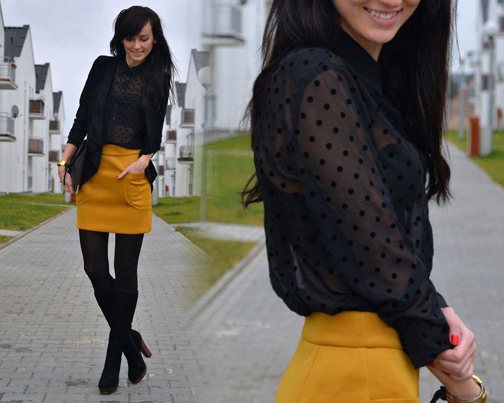 mustard yellow skirt, sheer black top