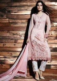 Reception Wear Peach Georgette Heavy Embroidery Work Straight Suit