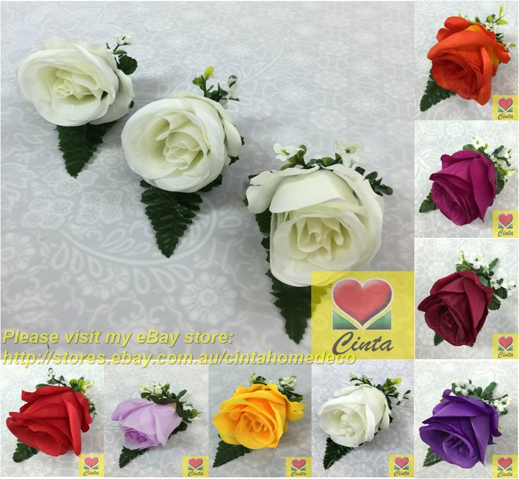 3 X Silk rose buttonholes with baby's breath and leaf for groom or groomsmen.