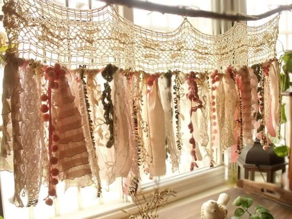 Shabby Boho Chic Blush Pink GOLD Birthday Banner Nursery Valance Crochet Lace Sparkle Sequin Garland Curtain Crib Garland Window Treatment – Deko