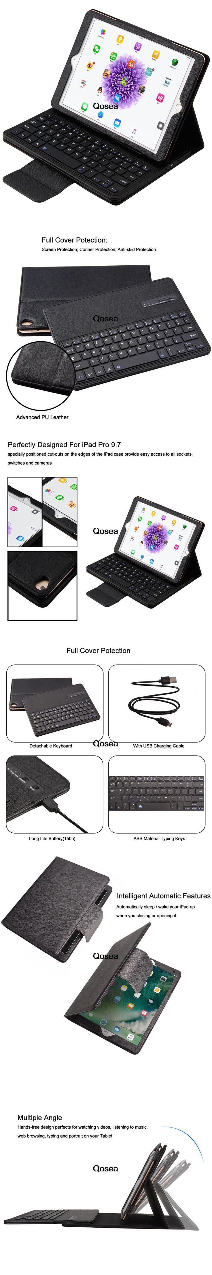 Qosea 2 in 1 Detachable Wireless Bluetooth Keyboard Case Genuine Leather Case For Apple i Pad Pro 9.7 Bluetooth keyboard Cover