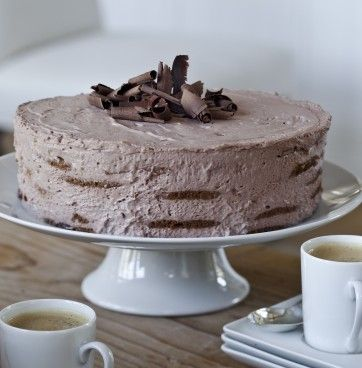 Barefoot Contessa's Mocha Chocolate Icebox Cake with chocolate wafers and layers of mocha whipped cream.