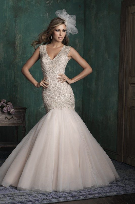 C343 Allure Couture Bridal Gown - Spangled with Swarovski crystals, this organza gown strikes a dramatic silhouette.