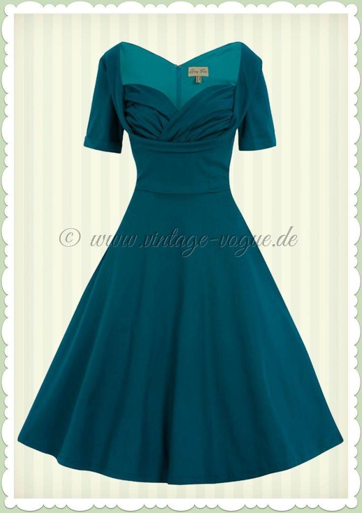 Lindy Bop 50er Jahre Rockabilly Petticoat Kleid - Sloane - Petrol Grün